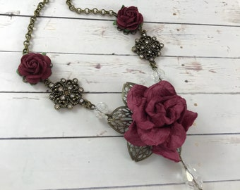Burgundy Rose Flower Necklace with Crystal Bead Accents // Romantic Victorian Style Jewelry // Bridesmaid Gift Idea