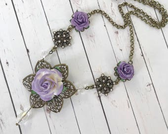Purple Rose Flower Necklace with Crystal Bead and Rhinestone Accents // Victorian Style Jewelry // Bridesmaid Gift Idea