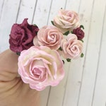 Flower Hair Pins in Shades of Blush Pink and Burgundy for Weddings, Prom, Bridesmaids // Bobby Pin Gift Set // Romantic Bridal Style