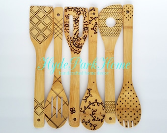 Wood burned kitchen utensils, bamboo wooden spoons