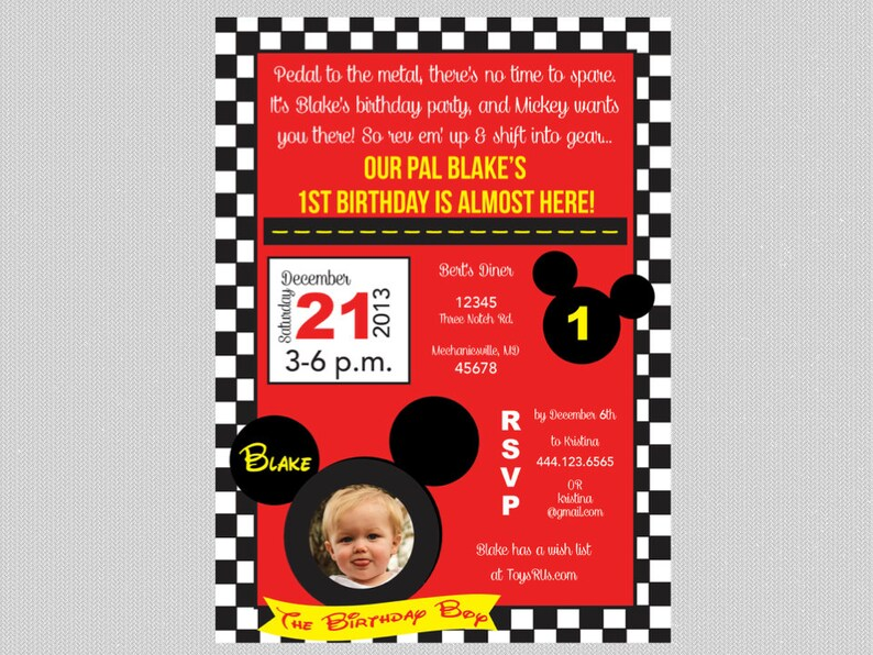 Birthday Invitation Mickey Mouse Road Rally Inspired