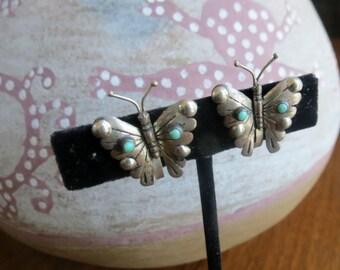 Free Shipping Vintage Screwback Butterfly Earrings