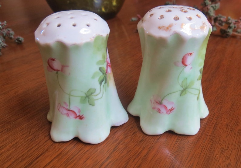 Vintage Cottage Chic Salt and Pepper Shakers Handpainted Roses