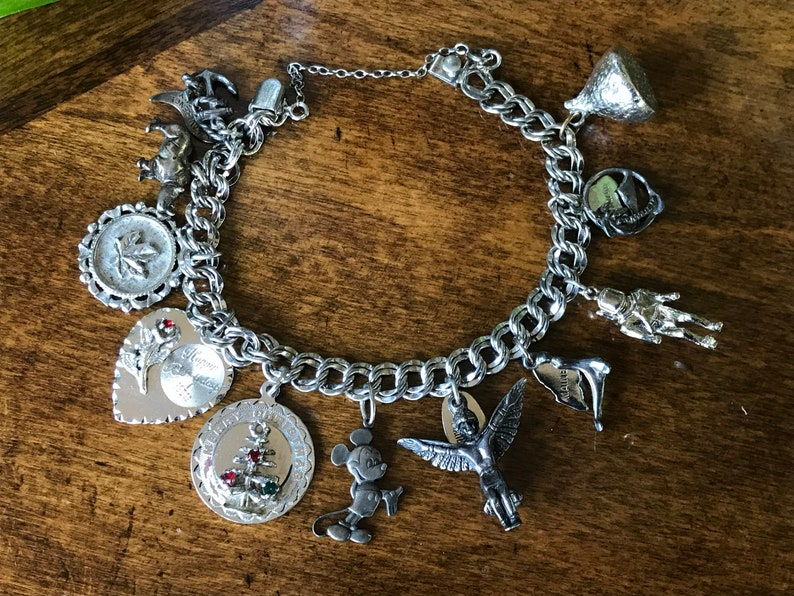Vintage Sterling Elco Charm Bracelet With 11 Charms
