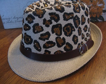 65a7deb133fc9 Wild LEOPARD SWAROVSKI Summer Straw Fedora-Sexy Animal Print Hat-Island  Wear-Poolside Hat-Bridal Shower Gift