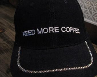 d95ae9bd36712d NEED MORE COFFEE Swarovski Baseball Cap-Navy Blue-Great Grab'n'go Hat-Resort  Wear Cap-Golf-Tennis-Jogging Glam-Bad Hair Day Cap