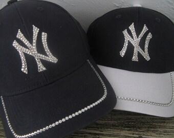 f96e39ea YANKEES CAP-Swarovski Crystal Hat-New York-Take Me Out to the Ballgame  Glitz-Navy Blue & White or Navy-Go Yankees!