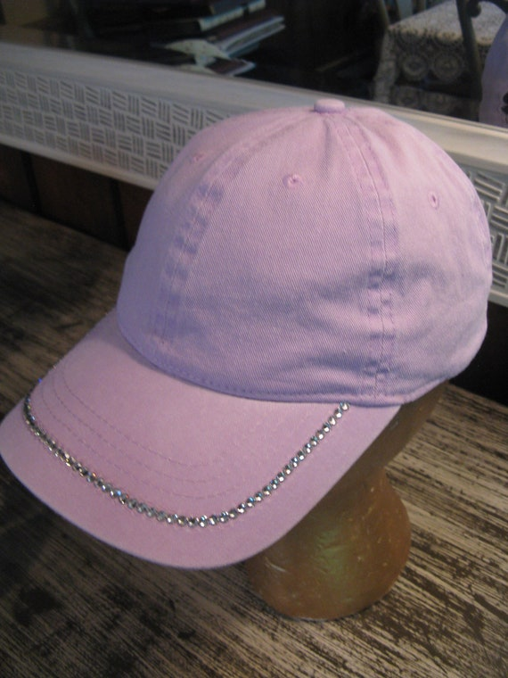 GLITZY LAVENDER Lilac Baseball CAP-Embellished with  4df0a9e8f28