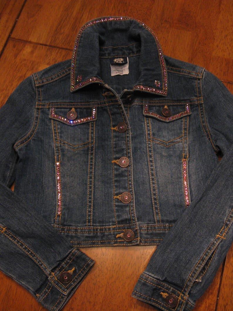 5196e90e62f60 SPARKLY GIRLS SWAROVSKI Denim Jean Jacket-2 Sizes Offered-Light Rose and  Peridot Swarovski Crystal Embellished-Sweet Little Girl Jean Jacket