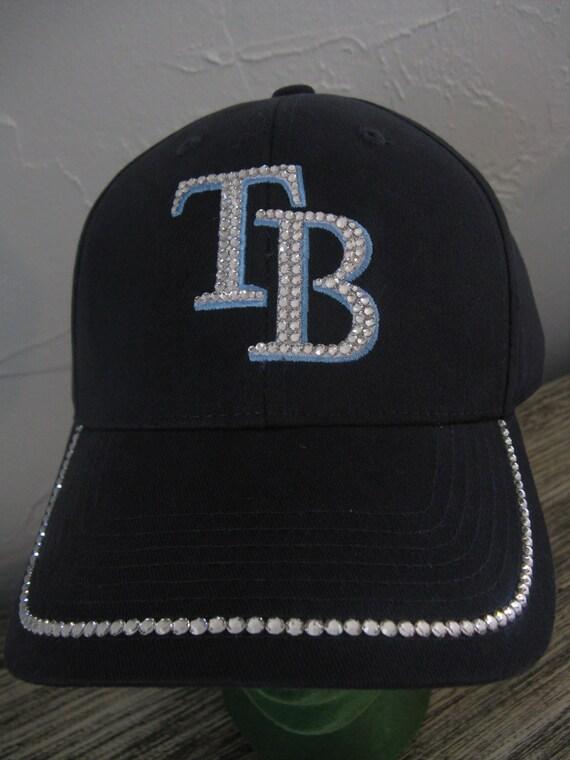 e075241f Glitzy TAMPA BAY RAYS Baseball Cap-Navy Blue Embellished with  Swarovski-Rays Initials T B-Home Run You!-Team Spirit