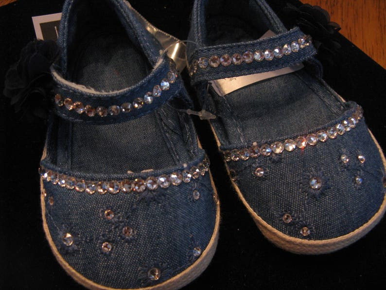 57e6ba2a5a232 SWAROVSKI DENIM BABY Girl Shoes-Size 0-3 Months-Clear Swarovski-Sparkle Up  Your Baby's Tooties!-Baby Bling