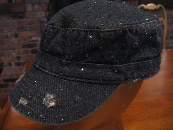 DENIM Jean BLING Cadet CAP Hat-Denim Blue Swarovski-Distressed  5fe793bb60d