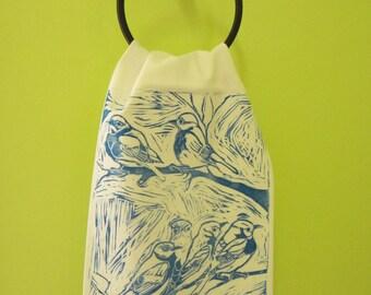 Bluebird Linocut printed flour sack towels