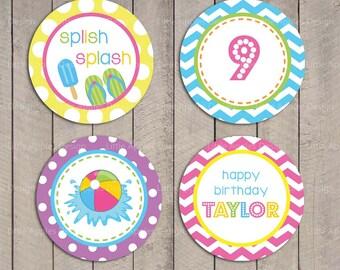 Kids Pool Party Cupcake Toppers / Pool Cupcake Toppers / Pool Party Circle / Pool Party Cupcake Toppers / Pool Birthday Printables