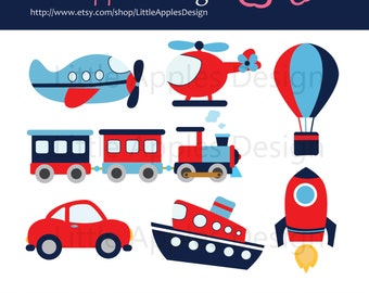 Transportation Clip Art / Transportation Clipart / Plane, Helicopter, Train, Automobile, Boat, Rocket, Air Balloon / Commercial & Personal