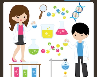 Mad Scientist Clip Art / Mad Scientist Clipart / Scientist Clipart / Scientist Clip Art  / Chemistry Clipart / Chemistry Clip Art