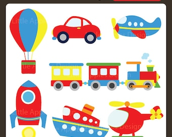 Transportation ClipArt / Transportation Clip Art / Plane, Helicopter, Train, Automobile, Boat, Rocket, Air Balloon / Commercial & Personal