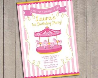 Carousel birthday / Carousel invitation / Carousel birthday invitation / Carousel invite / Carousel Printable / Carousel Party