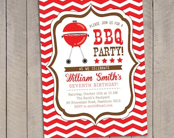 BBQ Invitation / Bbq Birthday invitation / Backyard Bbq Invitation / Graduation Bbq Invitation / Printable Bbq Invitation / Bbq Invite