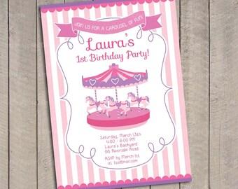 Carousel birthday Invitation / Carousel invitation / Carousel birthday / Carousel invite / Carousel Printable / Carousel Party