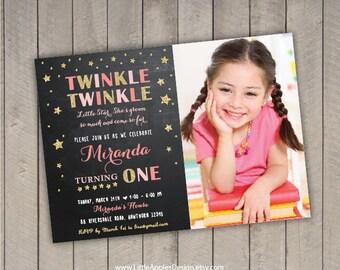 twinkle twinkle invitation / Twinkle Twinkle Little Star Birthday Invitation / twinkle star invitation / twinkle twinkle birthday
