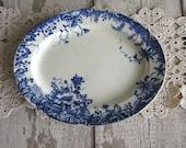 Small Antique Ironstone Platter Plate Dish Blue White China English Transferware Trentham Trailing Floral