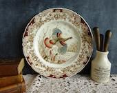 Vintage Johnson Bros Wild Turkeys Dinner Plate Ironstone English Brown Transferware Hand Coloured