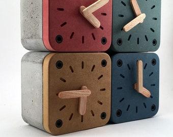 Wood & concrete desk clock, Wood Concrete Desk Organization, Industrial style clock, Nordic style clock, Kids room decoration clock, Hygge