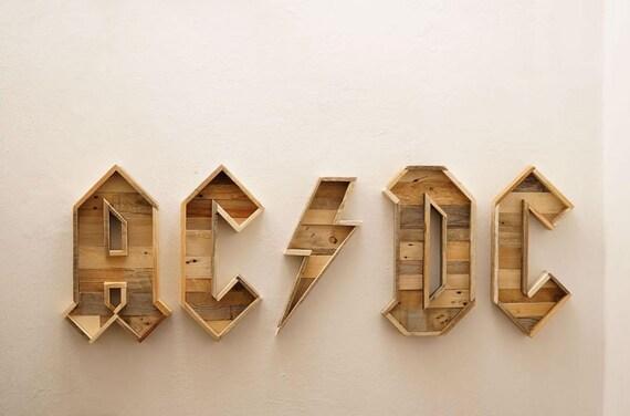 Lettere Di Legno Da Appendere : Ac dc logo scritta di legno scritta da parete lettere di etsy