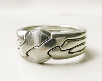 PIGGYBACK - 4 Band Puzzle Ring - Silver or Gold