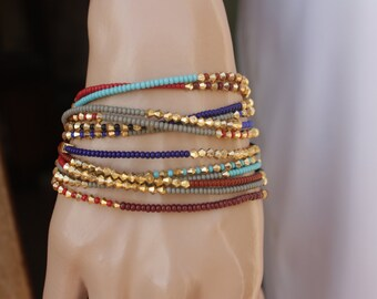 Wholesale Lot of 12  Boho  Beaded Wrap Bracelet , Tassel Friendship Bracelet