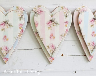 3 hearts plaques wall shabby rose chic hanging