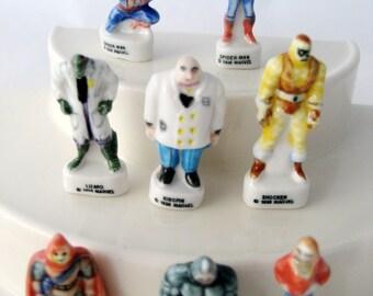 perfect FEVES COMPLETE SPIDERMAN Set of 8 porcelain figures MARVEL 1997