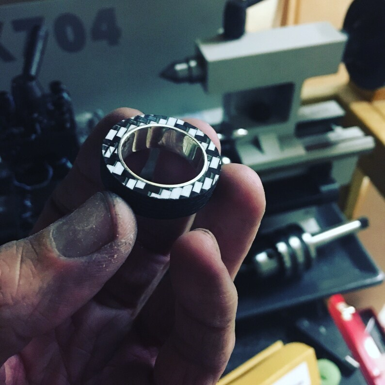 Carbon fiber and Silver lined Ring Size 10.25