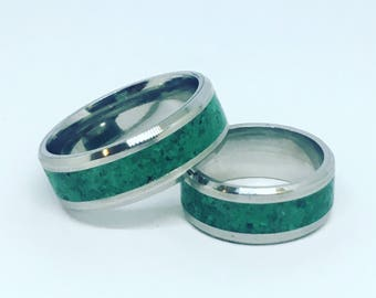 Couples Ring Set, with Stone Inlay