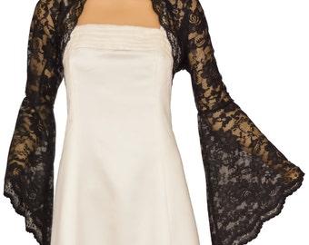 Ladies Black Lace Long Bell Sleeve Bolero Shrug Jacket Sizes 8-30
