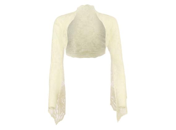 Ladies Ivory Lace Long Bell Sleeve Cropped Bolero Shrug Sizes 8-30