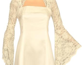 Ladies Ivory Lace Long Bell Sleeve Bolero Shrug Jacket Sizes 8-30
