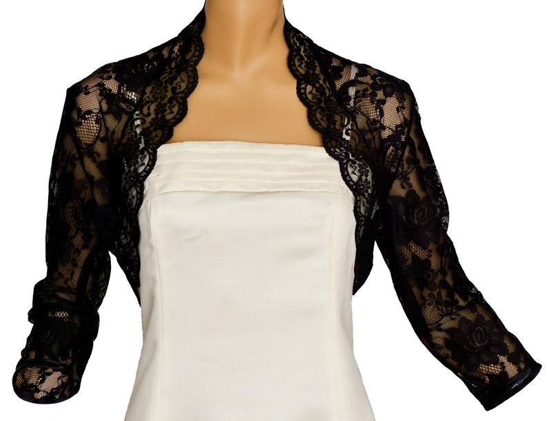 Ladies Black Lace 3 4 Sleeve Bolero Shrug Jacket Sizes 8-30  b3b282117