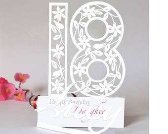 Personalised 3D Paper Cut 18th Birthday Card For A Daughter Granddaughter Niece Goddaughter Or Special Friend
