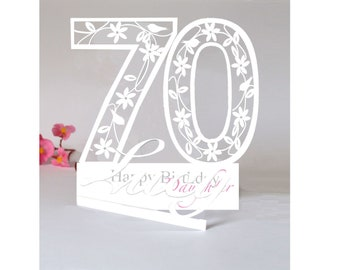 Personalised 3D Paper Cut 70th Birthday Card For A GrandmaDaughterSisterAunt Or Special Friend