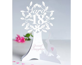 Personalised 3D Paper Cut 18th 21st 40th Or Special Birthday Card For A DaughterGranddaughterNiece Goddaughter