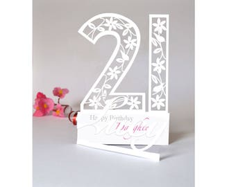 Personalised 3D Paper Cut 21st Birthday Card For Daughter Granddaughter Niece Goddaughter Friend Or Loved One