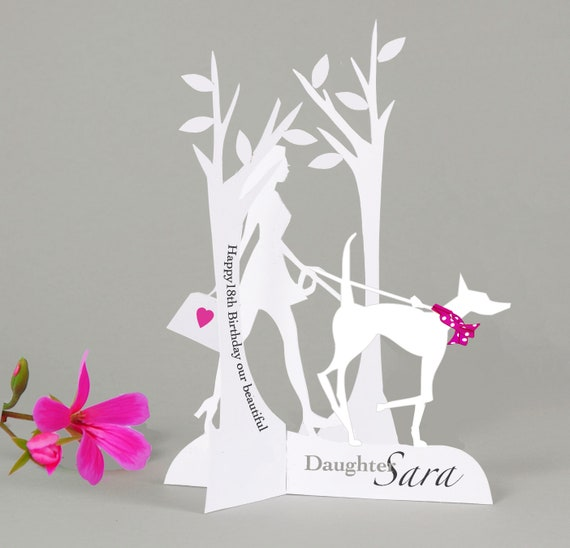 18th,21st,30th,40th Personalised 3D Popup Papercut Card for a DaughterNieceGranddaughterGoddaughter.