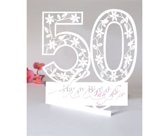 Large Size Personalised 3d Paper Cut 50th Birthday Card For A Etsy