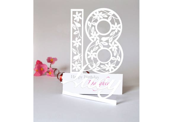 Personalised 3D Paper Cut 18th Birthday Card For A