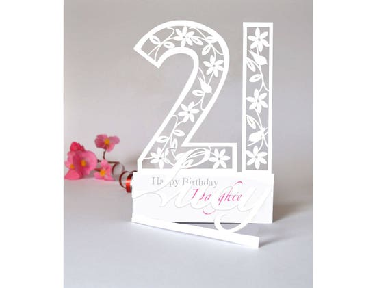 Personalised 3D Paper Cut 21st Birthday Card For