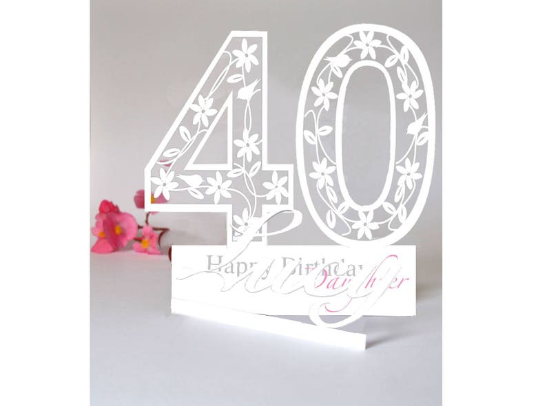 Large Size Personalised 3D Paper Cut 40th Birthday Card For A