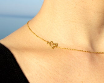 Sideways Capricorn Necklace - Silver Capricorn Necklace - Sideways Zodiac Necklace - Gold Capricorn Necklace Gift