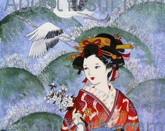 "Japanese Art - ""The Crane""  11 x 14 watercolor on cotton paper."